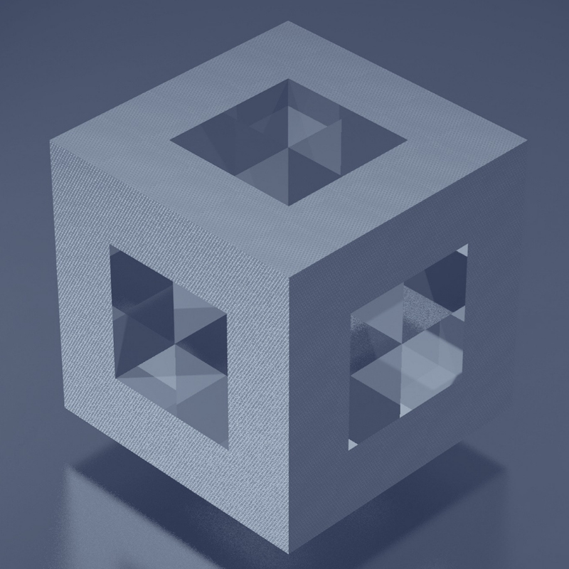 A cube indicating dimensions